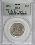 Seated Quarters: , 1853 25C Arrows and Rays AU53 PCGS. PCGS Population (37/457). NGCCensus: (27/517). Mintage: 15,210,020. Numismedia Wsl. Pr...
