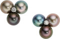 Estate Jewelry:Earrings, South Sea Cultured Pearl, Diamond, White Gold Earrings, Mish NY. ...