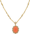 Estate Jewelry:Necklaces, Coral, Diamond, Gold Necklace. ...