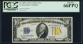 Small Size:World War II Emergency Notes, Fr. 2309* $10 1934A North Africa Silver Certificate. PCGS Gem New 66PPQ.. ...