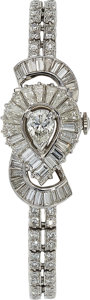 Estate Jewelry:Watches, Longines Lady's Diamond, Platinum Covered Dial Watch. ...