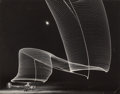 Photographs, Andreas Feininger (French/American, 1906-1999). Pattern made by Night-Flying Helicopter with Lights on the Tips of the Rot...