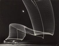 Andreas Feininger (French/American, 1906-1999) Pattern made by Night-Flying Helicopter with Lights on the Tips