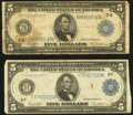 Fr. 851a $5 1914 Federal Reserve Note Very Good; Fr. 867a $5 1914 Federal Reserve Note Fine-Very Fine.<
