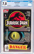 Modern Age (1980-Present):Science Fiction, Jurassic Park #1 Newsstand edition (Topps Comics, 1993) CGC FN/VF7.0 White pages....