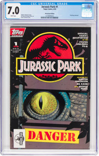 Jurassic Park #1 Newsstand edition (Topps Comics, 1993) CGC FN/VF 7.0 White pages