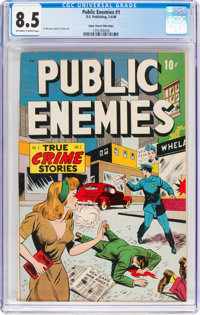 Public Enemies #1 Mile High Pedigree (D.S. Publishing, 1948) CGC VF+ 8.5 Off-white to white pages
