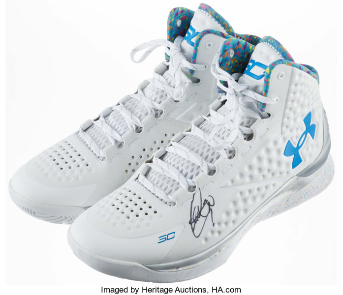 d3842a199ea Basketball Collectibles:Others, Stephen Curry Signed Under Armour Shoes.