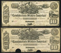 Confederate Notes, T29 $10 1861 PF-1 Cr. 237, Two Examples.. ... (Total: 2 notes)