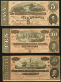 Confederate Notes, T67 $20 1864;. T68 $10 1864;. T69 $5 1864.. ... (Total: 3 notes)