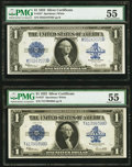 Large Size:Silver Certificates, Two Fr. 237 $1 1923 Silver Certificates PMG About Uncirculated 55..... (Total: 2 notes)