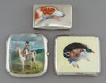 Decorative Arts, Continental:Other , Three Continental Enameled Silver Cigarette Cases, circa 1925.Marks to case with Napoleon portrait: STERLING. 3-3/8 x 3...(Total: 3 Items)
