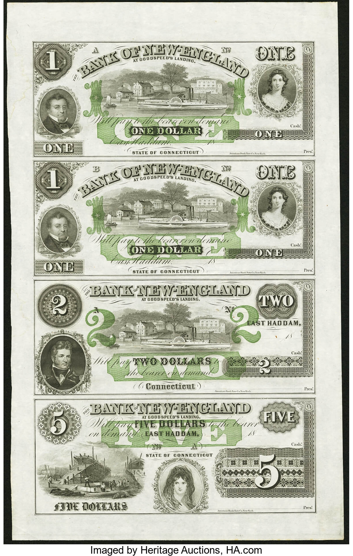 East Haddam CT Bank of New England $1-$1-$2-$5 1865 Uncut Sheet