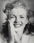 Photographs:Gelatin Silver, Andre de Dienes (American, 1913-1985). Marilyn Monroe on Tobaybeach in Long Island, New York, 1949. Gelatin silver, pri...