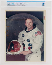 """Neil Armstrong: Original NASA """"Red Number"""" Color Photograph, the Iconic White Spacesuit Photo, Directly From T..."""