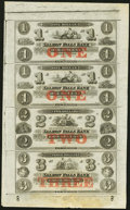 Obsoletes By State:New Hampshire, Rollinsford, NH- Salmon Falls Bank $1-$1-$2-$3 18__ Uncut Sheet. ...