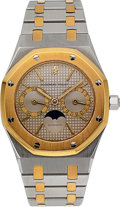 Timepieces:Wristwatch, Audemars Piguet Steel & Gold Royal Oak Day/Date Automatic WithMoon Phase. ...