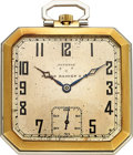 Timepieces:Pocket (post 1900), Juvenia Heavy 18k Gold Square Pocket Watch With Stand & Original Box. ...