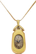 Timepieces:Pendant , Swiss 14k Gold & Enameled Pendant Watch. ...