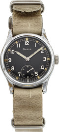 Timepieces:Wristwatch, Grana, (Certina) WWII Military, Manual Wind, Chrome and Stainless Steel, Circa 1941. ...