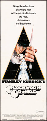 "A Clockwork Orange (Warner Brothers, 1971). Insert (14"" X 36"") X-Rated Style, Philip Castle Artwork. Science F..."