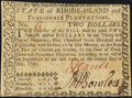 Colonial Notes, Low Serial Number 6 Rhode Island July 2, 1780 $2 Very Fine-Extremely Fine.. ...