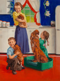 Paintings, Charles Winfield Miller (American, 1922-1995). Puppy Love. Oil on board. 21 x 15.75 in. (sight). Signed lower left. ...