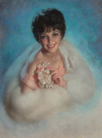 Zoe Mozert (American, 1904-1993) Glamorous in Pink Pastel on board 37.5 x 27.5 in. (sight) Sig