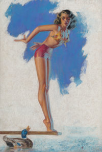 Zoe Mozert (American, 1904-1993) Pinup with a Duck Pastel on board 16.75 x 11.5 in. (sight) Si