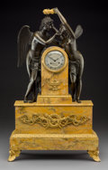 Timepieces:Clocks, An Empire-Style Gilt, Patinated Bronze, and Sienna Marble FiguralMantel Clock, late 19th century. Marks to clock face: Cl...