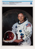 Explorers:Space Exploration, Neil Armstrong Uninscribed Signed White Spacesuit Color Photo Directly From The Armstrong Family Collection™, Certified and En...