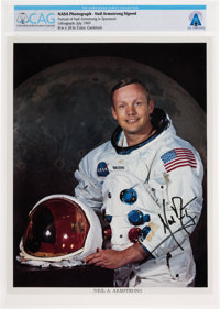 Neil Armstrong Uninscribed Signed White Spacesuit Color Photo Directly From The Armstrong Family Collection™, Certified...