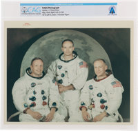 """Apollo 11: Original NASA """"Red Number"""" White Spacesuit Crew Color Photograph Directly From The Armstrong Family..."""