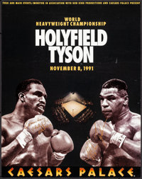 """Holyfield/Tyson at Caesars Palace (TVKO, 1991). Autographed Boxing Poster (22"""" X 28""""). Sports"""