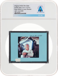 Apollo 11 Original NASA Glass Slide, an Image of Buzz Aldrin inside the LM, Directly From The Armstrong Family Col