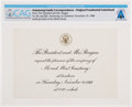 Explorers:Space Exploration, President Ronald Reagan: Luncheon Invitation for Neil and Janet Armstrong, November 10, 1988, Directly From The Armstrong Fami...