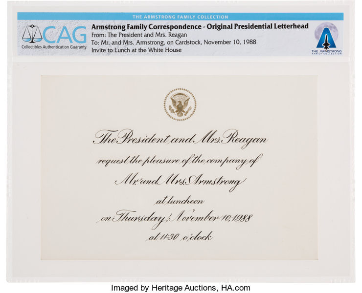 president ronald reagan luncheon invitation for neil and lot