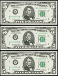Error Notes:Miscellaneous Errors, Stuck Digit Error Fr. 1969-B $5 1969 Federal Reserve Notes. Three Examples. Choice Crisp Uncirculated.. ... (Total: 3 notes)