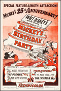 "Movie Posters:Animation, Mickey's Birthday Party (RKO, R-1953). One Sheet (27"" X 41""). Animation.. ..."