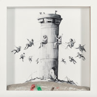 After Banksy Walled Off Hotel Box, 2017 Lithograph with concrete 10 x 10 x 2 inches (25.4 x 25.4