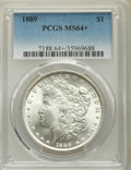 Morgan Dollars, 1889 $1 MS64+ PCGS. PCGS Population: (12710/2845). NGC Census: (17471/2411). MS64. Mintage 21,726,812....
