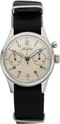 Timepieces:Wristwatch, Breitling Monopusher Chronograph, Royal Canadian Air Force, Ref. 1421 174, Circa 1972 . ...