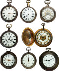 Timepieces:Pocket (pre 1900) , Eight Watches, Seven Verge Fusee, One Lever Lot to benefit the Texas Scottish Rite Children's Hospital. ... (Total: 8 Items)