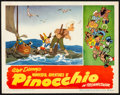 "Movie Posters:Animation, Pinocchio (RKO, R-1945 & R-1953). Lobby Card (11"" X 14"") & Uncut Pressbook (20 Pages, 12"" X 18""). Animation.. ... (Total: 2 Items)"