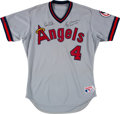 Baseball Collectibles:Uniforms, 1988 Gene Mauch Game Issued & Signed California Angels Jersey....