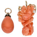 Estate Jewelry:Pendants and Lockets, Coral, Cultured Pearl, Gold, Yellow Metal Pendants. ... (Total: 2Items)