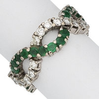 Diamond, Emerald, White Gold Eternity Band