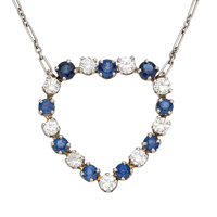 Diamond, Sapphire, White Gold Necklace