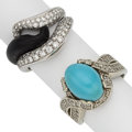 Estate Jewelry:Rings, Diamond, Turquoise, Wood, Gold Rings . ... (Total: 2 Items)