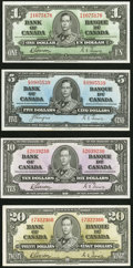 Canadian Currency, BC-21c $1 1937. BC-23c $5 1937. BC-24b $10 1937. BC-25b $20 1937.... (Total: 4 notes)